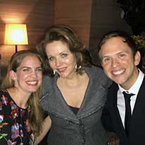 What a night! Post-recital party with Renée Fleming and Anna Chlumsky!